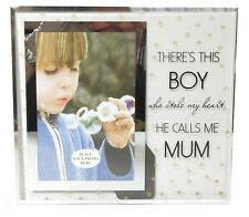 There's This Boy Who Stole My Heart He Calls Me Mum Glass Photo Picture Frame