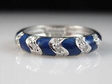 18K Blue Enamel Diamond Ring Band HIDALGO .15ctw Fine Jewelry Size 6.5