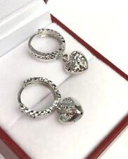 18k Solid White Gold Cute Heart Dangle Hoop Earrings, Diamond Cut 2.46 grams