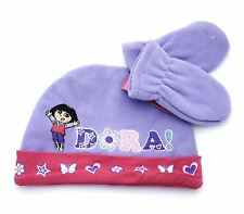 KIDS DORA THE EXPLORER HAT & GLOVES SET WARM FLEECE BABY 1-2 YEARS