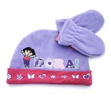 KIDS DORA THE EXPLORER HAT & GLOVES SET WARM FLEECE BABY 1-2 YEARS