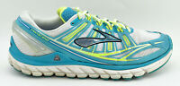 WOMENS BROOKS TRANSCEND RUNNING SHOES SIZE 9.5 TURQUOISE GREEN WHITE GRAY YELLOW