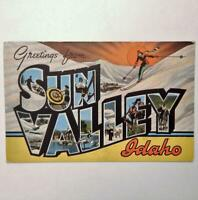 Vintage Greetings From Sun Valley Idaho Postcard Skiing Inn & Challenger Lodge