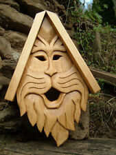 """Unique Kitty Bird House Rustic Hand Carved Cat Face Wood Spirit 14"""""""