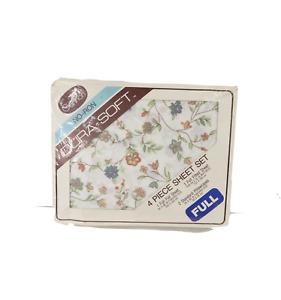 NOS Vintage 70s Mid Century Modern MCM Floral Full 4 Piece Sheet Set Aurora