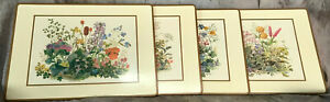 "Pimpernel set of 4 Place Mats 16"" X 12"" Cork-backed Wildflowers design Vintage"