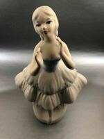"Vintage 50s Lilly Ceramic White Figurine Ballerina Dancing 12.5"" Pulitzer Glass"