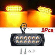 2x 12 LED Amber Car Truck Emergency Beacon Warning Hazard Flash Strobe Light BAR