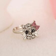 FREE GIFT BAG Silver Plated Crystal Cat Kitten Cute Adjustable Ring Xmas Present