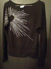 SALE 2xtremz Black Poly Cotton Dressy Shirt Bling Heart Burst Knit - M (dj)