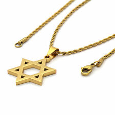 "Men Gold Plated Stainless Steel Star of David Pendant 2mm 24"" Rope Chain Necklac"