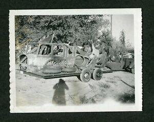 Vintage Polaroid Photo Pile of 1920s Car Loaded on Trailer 423185