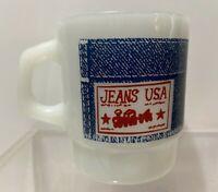 Vintage Fire King Anchor Hocking Mug Coffee Tea Cup Jeans USA Handkerchief Mint