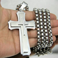 Huge Stainless Cross Men's Necklace Pendant Heavy Large Silver Polished 3 Layer