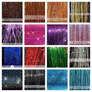 "NEW 20"" / 40"" Sparkling Hair Tinsel 100 STRANDS (Choose Color) US Seller"