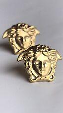 New! VERSACE Medusa Earrings 18k Gold Plated Silver