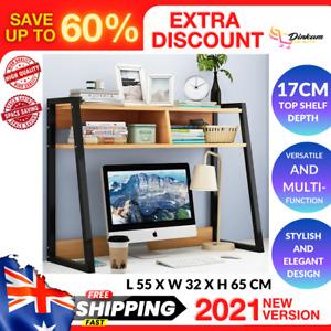 Versatile Desk Hutch Home Office Large Storage Shelf Unit Organizer Natural Oak