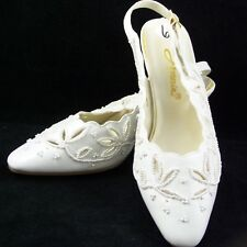 Annie Shoes Heels Sling-Backs 6M White Beige Pearl Floral Formal Prom Cutouts
