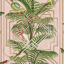 Pink Floral & Reptile Old Hollywood Tropical Wallpaper - 10m Roll - NEW DESIGN