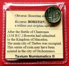 VF Ancient Greek Coin 315BC Dichalkon Boeotia Shield Trident Dolphin Genuine