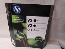 Genuine HP 92 93 Black Tri-Color EXPIRED Value Pack 3 Ink Cartridges NEW/SEALED!