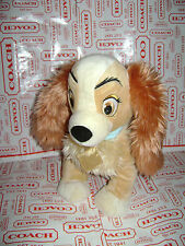 "DISNEY STORE LADY & TRAMP DOG PUPPY STUFFED PLUSH BLUE COLLAR CUTE 13"" SOFT&CUTE"