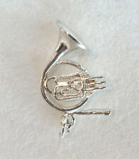 LARGE FRENCH HORN  brass -  traditional .925 sterling silver music charm pendant