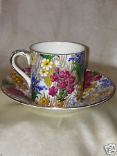 ROYAL WINTON MARGUERITE ASCOT FLAT DEMITASSE CUP & SAUCER FLORAL CHINTZ GOLD