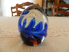 "Paperweight Blue Egg Shape 4 1/4"" tall by 3 1/4"" wide Nice 1-5"