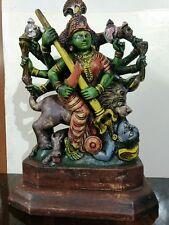 Durga Sculpture Kali Killing demon Statue Hindu Goddess Vintage Temple Figurine