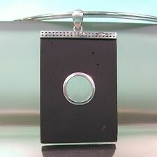 Rectangle Lava Rock Stone Pure 925 Sterling Silver Handmade Pendant Necklace