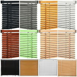 New PVC Window Venetian Blinds Easy Fit Trimable Home Wood Effect Blind All Size