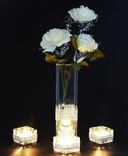 3 Pieces Diamante Tea Light Candle Holder With Vase & Cream Roses Wedding Decor