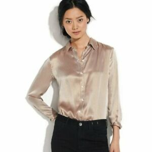 Alexa Chung Madewell Ivory/Brown Silk Striped Peter Pan Collar Blouse Womens M