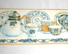 Imperial Tea Cups Wall Border 3 Pack Blue Rose Yellow Teapot Saucer Plaid Floral