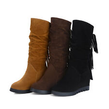 Women's Suede Slouch Wedge Mid Heel Tassel Decor Pull On Mid Calf Knight Boots