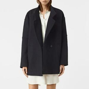 All Saints Wool Meade Torte Short Coat Black Size UK 12 (Fit UK 14) BNWT £318