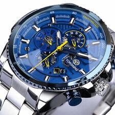 Automatik Multifunktion Herren Uhr Blau Silber Farben Edelstahl Armband Datum