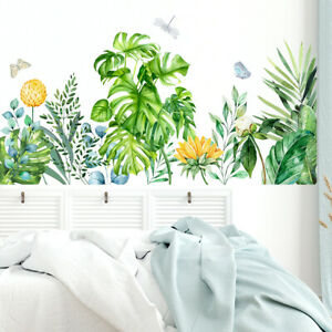 Tropical Wall Sticker Decal Natural Plant Leaves DIY Mural Home Green Foliage