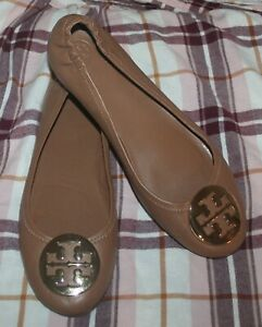 Tory Burch Minnie Royal Tan Leather Travel Ballet Flats Size 9