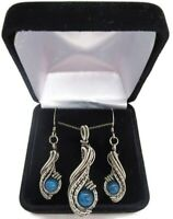 """Blue Apatite Necklace & Earrings Set, Wire-Wrapped in Sterling Silver, """"Comet"""""""