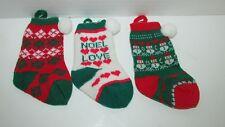 "Vintage Christmas ornaments mini knit stockings Noel Love snowmen argyle 4-5.25"""