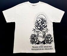 VINTAGE USUGROW TRIBAL SKULL & ROSES WHITE TEE MENS Size EXTRA LARGE T SHIRT XL