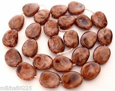 25 12 x 9 mm Czech Glass Twisted Flat Oval Beads: Coral Pink - Picasso