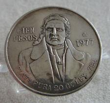 Mexico Cien Pesos 1977 Coin 27+ gr .720 Silver