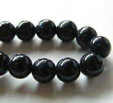 50pcs 8mm Round Created Gemstone Beads - Blue Goldstone