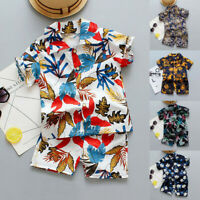 Toddler Boys Baby Kids Short Sleeve Floral Print Tops+Shorts Outfits Set Clothes
