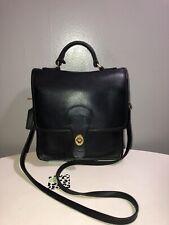Vintage Coach Black Leather Crossbody Shoulder Bag Brass Hardware