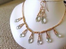 NEW MARQUISE FACETED NATURAL GREEN AMETHYST GOLD FILLED NECKLACE EARRINGS SET