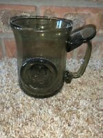 Colonial Jamestown Reproduction Blown Olive Green Glass Stein Mug Souvenir JSJ